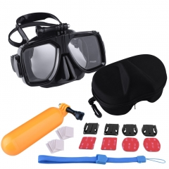 Kuman MH06 Anti-fog Dive Masks Kit Scuba Diving Free diving Mask Scuba Floating Hand Grip for Gopro Hero 1/2/3/3+/4 W/ Curved & Flat Mounts