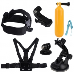 Kuman MH03 Sports Camera Accessory Bundle Kits For Gopro Hero ANATR Sports Camera - Head Strap Chest Belt Folating Mount & Auto Suction Cup