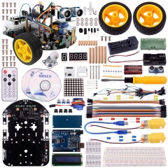 Kuman Robot Car Kit for Arduino, 2 Wheel Utility Vehicle Intelligent Robotics Ds Robot Smart Car Kit Obstacle Avoidance,tracking SM2