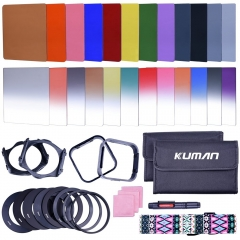 Kuman 24 PCS Square Filter Sets Compatible with Cokin P Series Bundle with Filter Holder Adaptor Ring Lens Hood Cleaner Strap for DSLR Cameras KH01