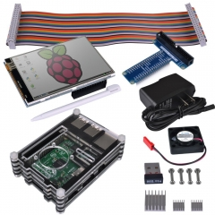 "Kuman RPI Starter Kit Model B B+ for Raspberry Pi 3 2 Kits W/WiFi 150Mbps 11n USB Adapter+3.5"" touch screen+9 Layers Case+ 5V2A Power+GPIO Board #SC04"