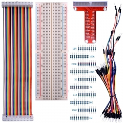 Kuman Kit for Raspberry Pi 3 830 MB-102 Tie Points Breadboard+GPIO T Type Expansion Board+65x Jumpers+40pin Rainbow Ribbon Cable+100x resistance K73