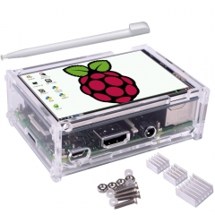Kuman 3.5 inch 320480 Resolution TFT LCD Display with protective Case, 3 x Heat, sinks Touch Pen for Raspberry Pi Pi 2, Pi 3 Model B #SC11