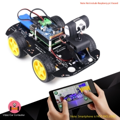 Kuman Smart Wireless WiFi RC 4WD Video Robot Car for Raspberry Pi 3, 8G SD, PC Android iOS Control SM9